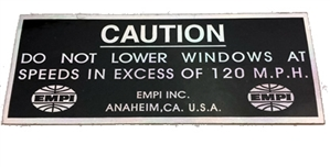 """Do Not Lower Windows In Excess of 120 MPH"" Sticker, 1 1/2 x 3 3/4"", Each"