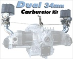 Dual 34mm PDSIT Solex Carb Kit, 1300, 1500, and 1600cc Single Port Upright Engines