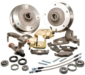 Zero Offset Wide 5 Disc Brake Kit, Link Pin Type 1 (1949-65 Beetle and Ghia), Stock Height Spindles ONLY, Includes Dual Circuit Master Cylinder and Reservoir, 401498-BD