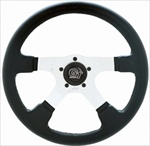 "GT Rally 14"" Steering Wheel, 4 Silver Spokes w/Black Grip"