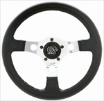 "GT Formula 13"" Steering Wheel, 3 Silver Spokes w/Black Grip"