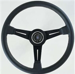 "Nardi Classic 360 Steering Wheel, 14"", 3 Black Spokes w/Black Leather Grip with White Stitching"