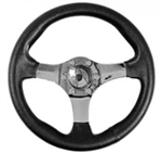 "SCAT Motorace GT 13 1/2"" Steering Wheel, 3 CHROME Spokes w/Black Leather Grip,  1973 1/2+ Type 1 and 3"