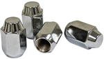 Chrome Lug Nuts, 14 x 1.5mm Thread, Acorn Style (Closed End), 60 Degree Tapered Seat, Set of 4, 9519