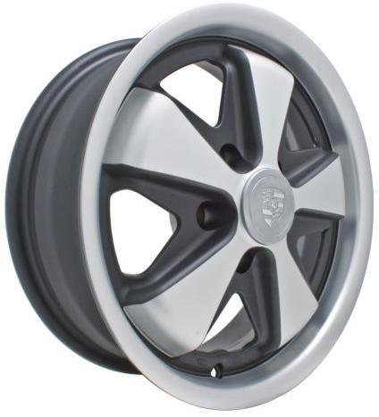 "Porsche 911 Rims >> EMPI 911 Alloy Wheel (Fuchs Repro), Matte Black w/Matte Silver, 15 x 5.5"", 5 x 112mm, EACH, 9728 ..."