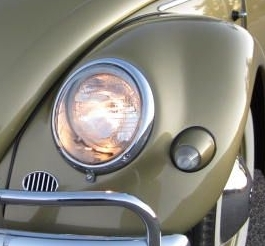 Fiberglass Front Fender  Standard Beetle  Early Headlights With Bullet Turn Signals  Stock Width