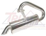 Tri-Mil Bobtail Muffler (Muffler ONLY), Quiet Pack Muffler, Raw Steel or Ceramic Silver, 3010M