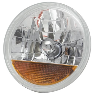 "7"" Headlight Assembly for H4 Halogen Conversion (Bulbs NOT included), LHD Cars ONLY, Diamond-Cut Lens with Built In Amber Turn Signals, PAIR"
