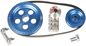 "SCAT Serpentine Belt and Pulley Kit, 6 3/4"", Satin, Black, Blue, or Red"