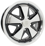 "SSP Fooks (Fuchs) Alloy, Black and Polished, 5 x 130mm Porsche Bolt Pattern, 15 x 5.5"", EACH"