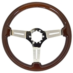 "Volante S6 Sport Series Steering Wheel (6 Bolt Pattern), 14"", Wood Grip, 3 Slotted Chrome Spokes, ST3011"