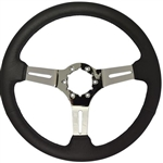 "Volante S6 Sport Series Steering Wheel (6 Bolt Pattern), 14"", Black Leather Grip, 3 Slotted Chrome Spokes, ST3012B"