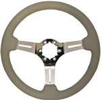 "Volante S6 Sport Series Steering Wheel (6 Bolt Pattern), 14"", Grey Leather Grip, 3 Slotted Chrome Spokes, ST3012G"