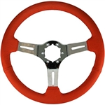 "Volante S6 Sport Series Steering Wheel (6 Bolt Pattern), 14"", Red Leather Grip, 3 Slotted Chrome Spokes, ST3012R"