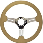 "Volante S6 Sport Series Steering Wheel (6 Bolt Pattern), 14"", Tan Leather Grip, 3 Slotted Chrome Spokes, ST3012T"