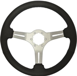 "Volante S6 Sport Series Steering Wheel (6 Bolt Pattern), 14"", Black Leather Grip, 3 Spokes with Slots, Brushed Finish, ST3014B"