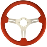 "Volante S6 Sport Series Steering Wheel (6 Bolt Pattern), 14"", Red Leather Grip, 3 Spokes with Slots, Brushed Finish, ST3014R"
