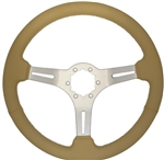 "Volante S6 Sport Series Steering Wheel (6 Bolt Pattern), 14"", Tan Leather Grip, 3 Spokes with Slots, Brushed Finish, ST3014T"