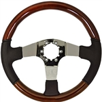 "Volante S6 Sport Series Steering Wheel (6 Bolt Pattern), 14"", Wood AND Leather Grip, 3 Spokes with Slots, Chrome Finish, ST3019"