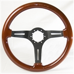 "Volante S6 Sport Series Steering Wheel (6 Bolt Pattern), 14"", Wood Grip, 3 Slotted Black Spokes, ST3027B"