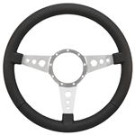 "Volante S9 Premium Steering Wheel (9 Bolt Pattern), 14"", Black Leather Grip, Polished Aluminum 3 Spoke with Holes, ST3056"