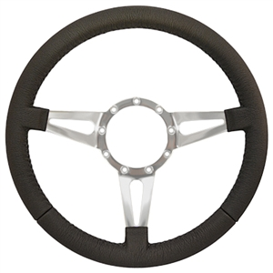"Volante S9 Premium Steering Wheel (9 Bolt Pattern), 14"", Black Leather Grip, Polished Aluminum 3 Spoke with Slots, ST3059"