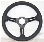 "Volante S6 Sport Series Steering Wheel (6 Bolt Pattern), 14"", Black Leather Grip, 3 Slotted Black Spokes, ST3060B"