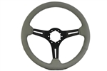 "Volante S6 Sport Series Steering Wheel (6 Bolt Pattern), 14"", Grey Leather Grip, 3 Slotted Black Spokes, ST3060G"
