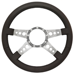 "Volante S9 Premium Steering Wheel (9 Bolt Pattern), 14"", Black Leather Grip, Polished Aluminum 4 Spoke with Holes, ST3071"