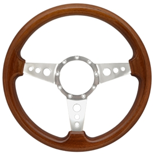 "Volante S9 Premium Steering Wheel (9 Bolt Pattern), 14"", Walnut Grip, Polished Aluminum 3 Spoke with Holes, ST3076"