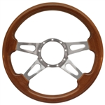 "Volante S9 Premium Steering Wheel (9 Bolt Pattern), 14"", Walnut Grip, Polished Aluminum 4 Spoke with Slots, ST3080"