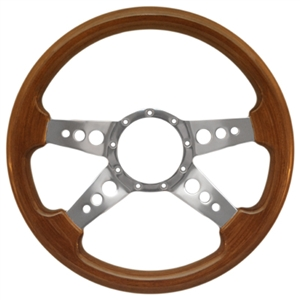 "Volante S9 Premium Steering Wheel (9 Bolt Pattern), 14"", Walnut Grip, Polished Aluminum 4 Spoke with Holes, ST3082"