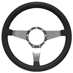 "Volante S9 Premium Steering Wheel (9 Bolt Pattern), 14"", Black Leather Grip, Polished Aluminum 3 Spoke with Solid Spokes, ST3087"