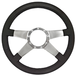 "Volante S9 Premium Steering Wheel (9 Bolt Pattern), 14"", Black Leather Grip, Polished Aluminum 4 Spoke with Solid Spokes, ST3088"
