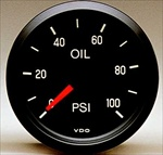 "VDO 100psi Mechanical Oil Pressure Gauge, Cockpit, 2 1/16"", Black Face, V150030"