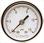 "VDO Direct Mount Gauge, 15psi, 1 1/2"" White Face, 1/8-27 NPT"