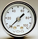 "VDO Direct Mount Gauge, 100psi, 1 1/2"" White Face, 1/8-27 NPT"