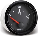 "VDO Fuel Gauge, Cockpit, Black Face, 2 1/16"", V301015"