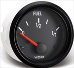 "VDO Fuel Gauge, Cockpit, Black Face, 2 1/16"" (For V221012 or OEM Sender)"