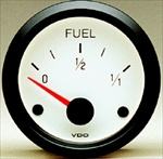 "VDO Fuel Gauge, Cockpit, White Face, 2 1/16"", V301216"