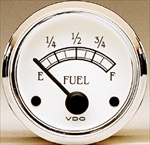 VDO Fuel Gauge, Royale, White Face and Chrome Bezel, 2 1/16""