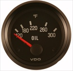 VDO 300F Oil Temp Gauge, Cockpit, Black Face, 2 1/16""