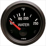 VDO 250F Water Temp Gauge, Cockpit, Black Face, 2 1/16""