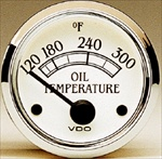 VDO 300F Oil Temp Gauge, Royale, White Face with Chrome Bezel, 2 1/16""