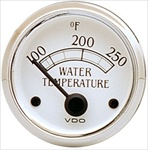 VDO 250F Water Temp Gauge, Royale, White Face with Chrome Bezel, 2 1/16""