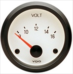 VDO Voltmeter, Cockpit, White Face, 2 1/16""