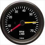 VDO Tachometer, Cockpit, Black Face, 7000 RPM, 3 1/8""