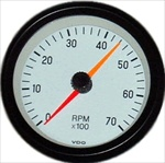 VDO Tachometer, Cockpit, White Face, 7000 RPM, 3 3/8""