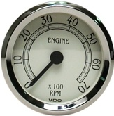VDO Tachometer, Royale, White Face, 7000 RPM, 3 1/8""