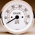 VDO Tachometer, Royale, White Face, 7000 RPM, 3 3/8""